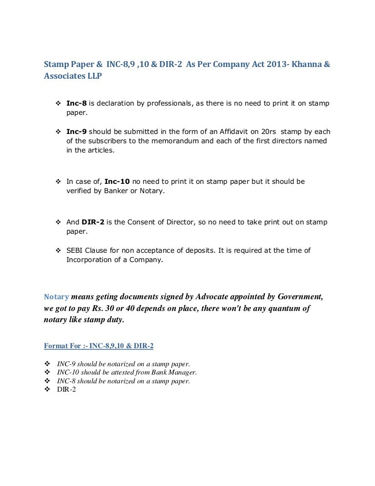 Formats for Company Incorporations INC8 INC9 INC10 DIR2 as per – Affidavit Formats