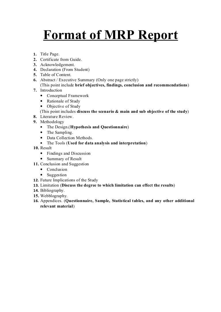Format of mrp report – Acknowledgement Report Sample