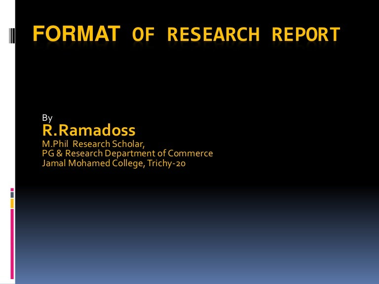 purpose of research report