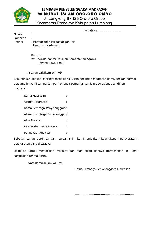Format Perpanjangan Ijin Operasional Madrasah