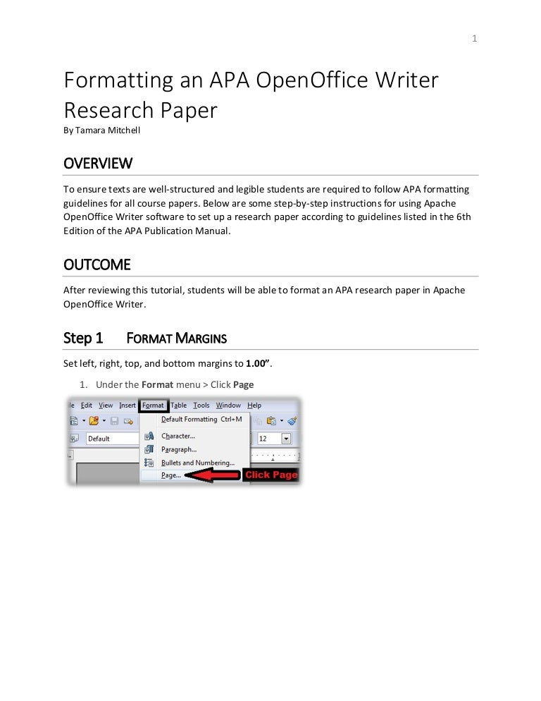 formatting an apa open office writer document