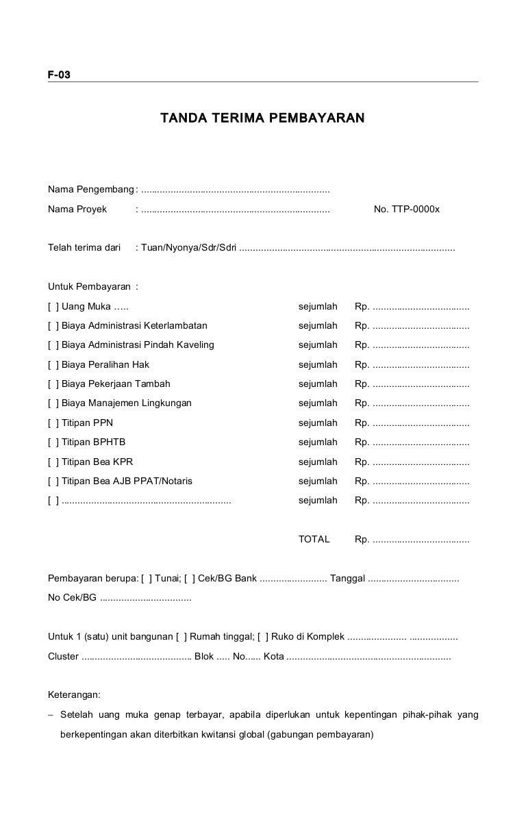 Form Keu03 Tanda Terima Pembayaran