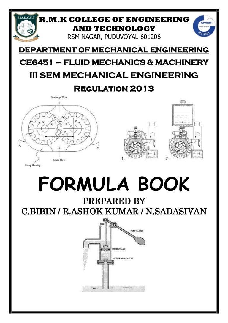 FLUID MECHANICS AND MACHINERY FORMULA BOOK