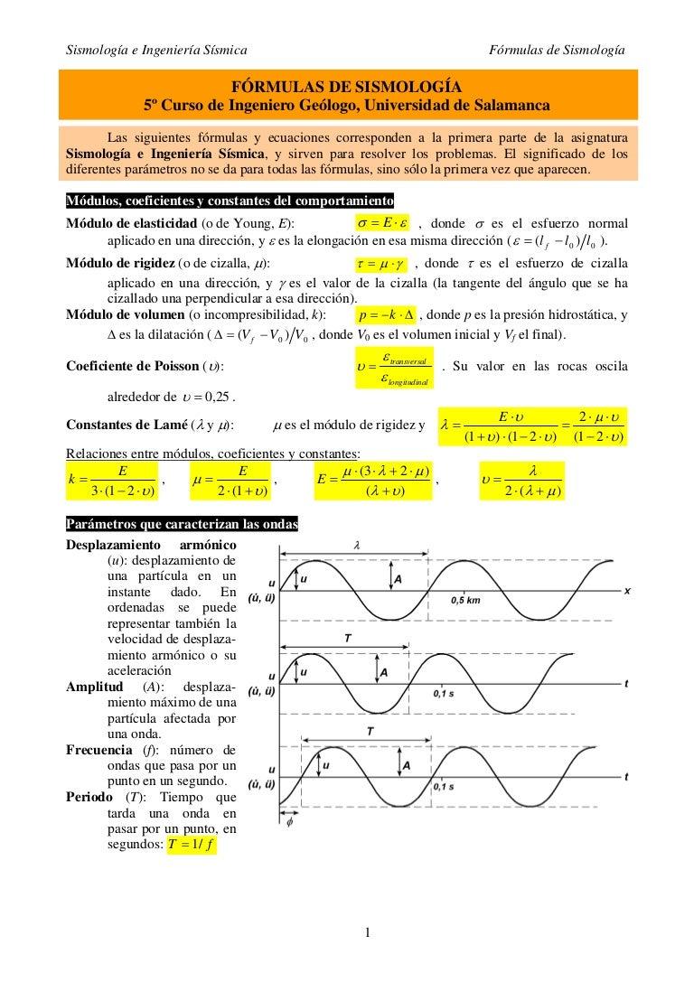 Formulas De Sismologia