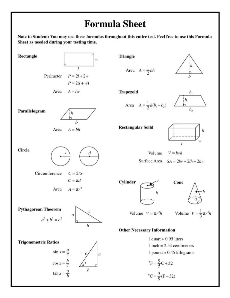 formulas sheet for geometry - Ideal.vistalist.co