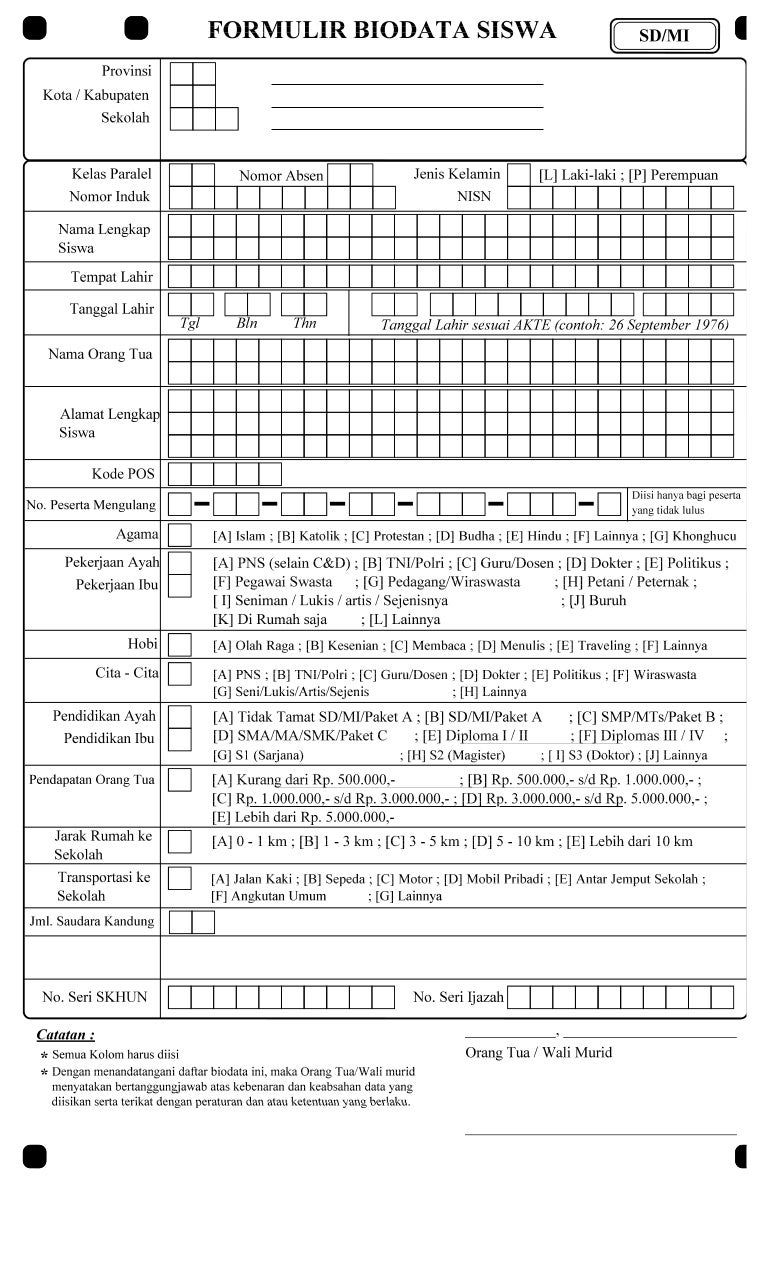 formulir biodata siswa un