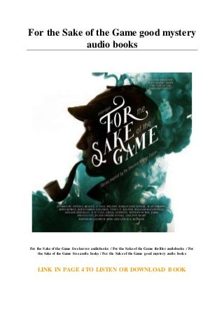For the Sake of the Game good mystery audio books