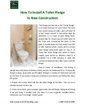 Fort Lauderdale Plumber Shares How To Install A Toilet Flange In New Construction