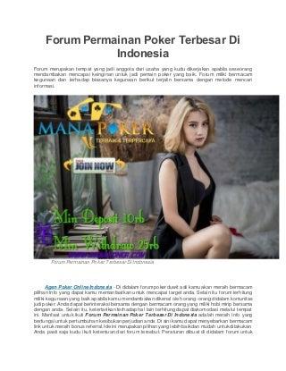 Forum permainan poker terbesar di indonesia