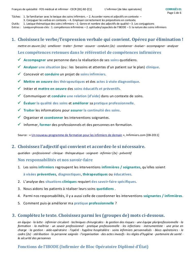 Fos Medical Et Infirmier L Infirmier De Bloc Operatoire Exercices