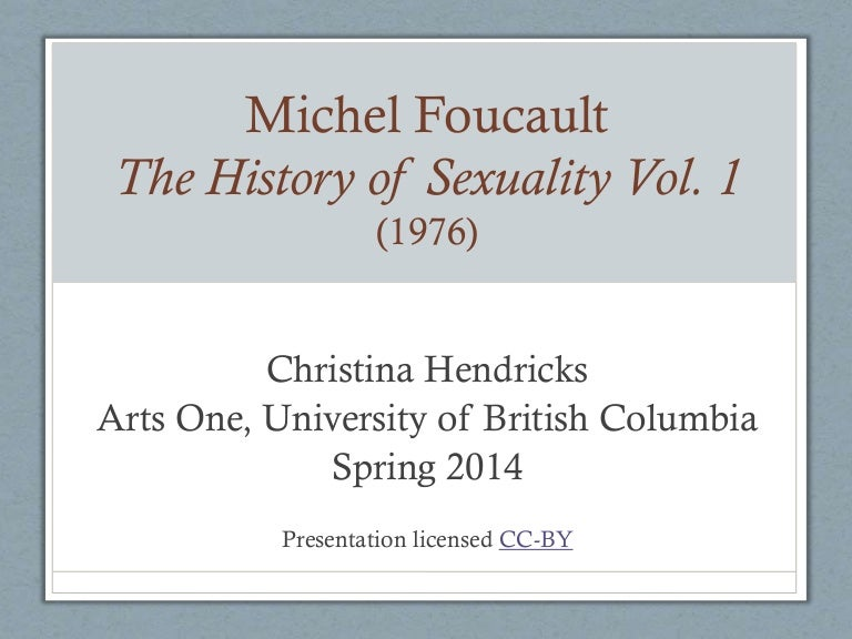 Michel Foucault, History of Sexuality Volume 1