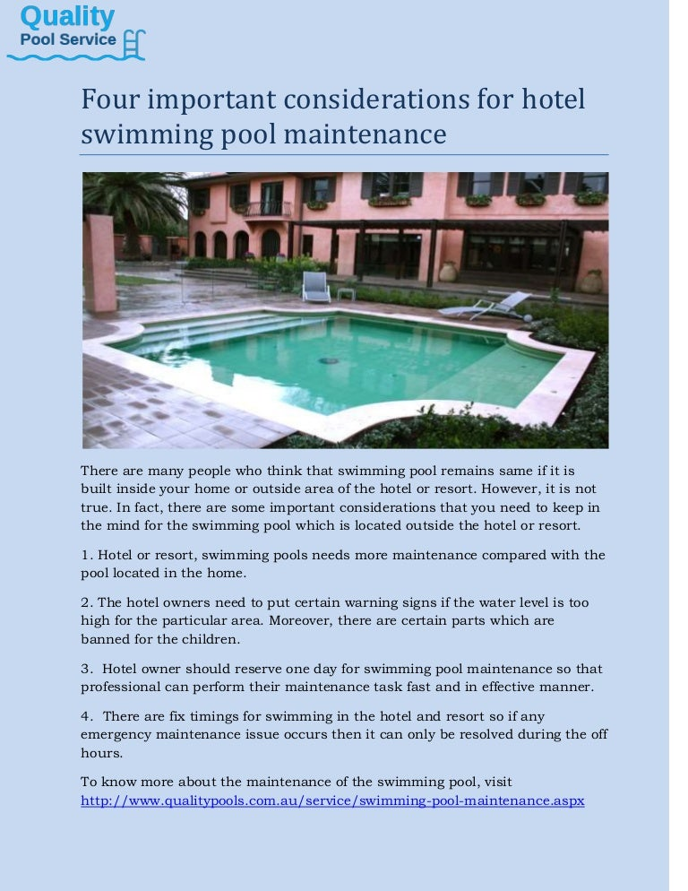 Swimming Pool Maintenance four considerations for hotel swimming pool maintenance