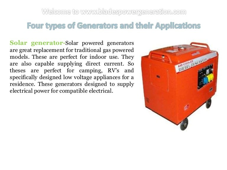 Four Types Of Generators And Their Applications