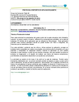 Protocolo reporte de aplicación No. 5
