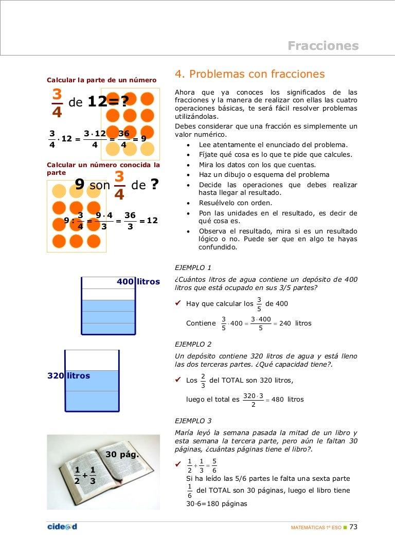 Fracciones 3problemas for Significado de cuarto