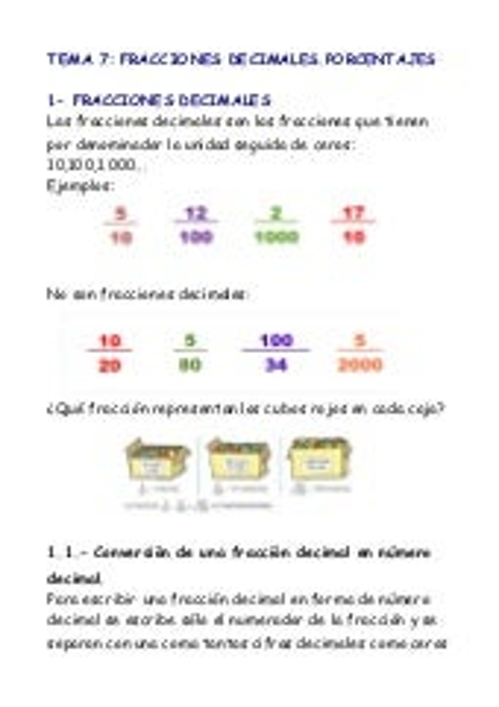 Fracciones decimales porcentajes tema 7