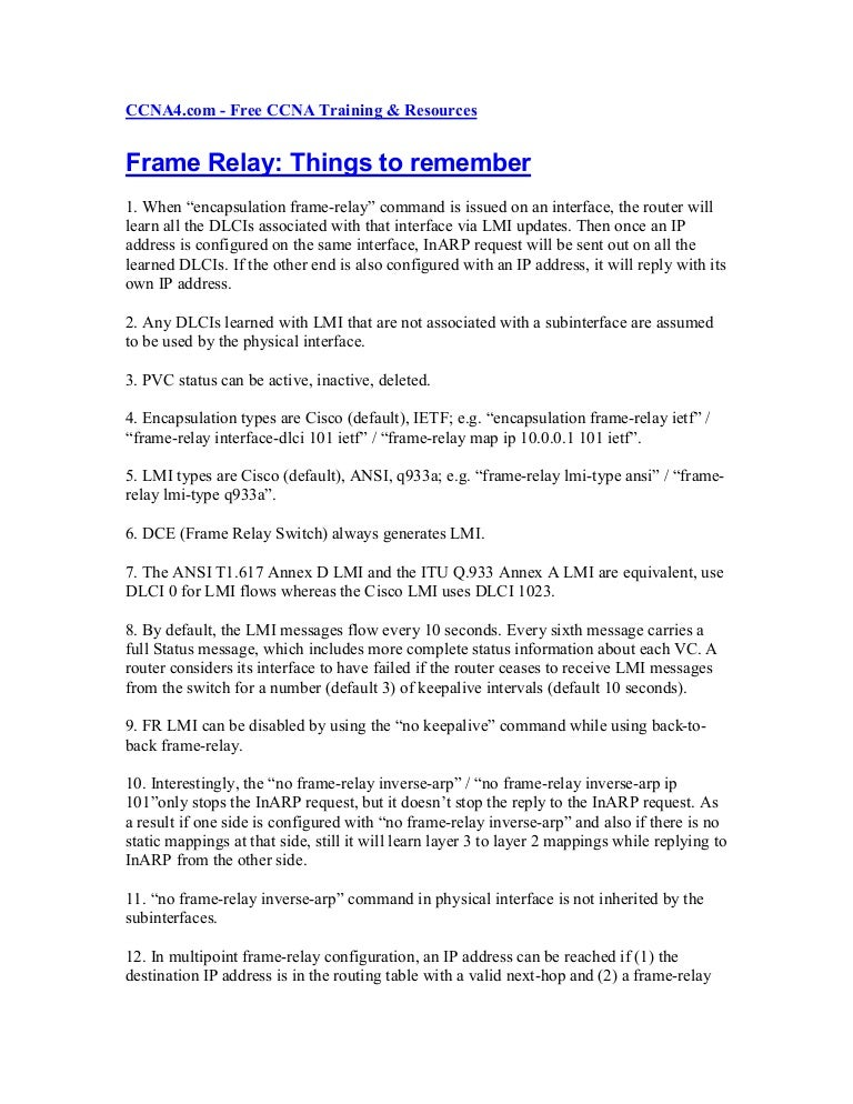Frame Relay Things To Remember