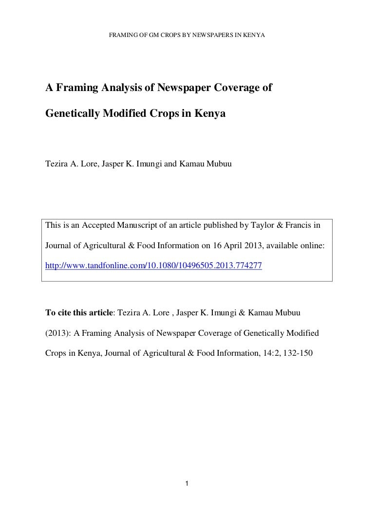 A framing analysis of newspaper coverage of genetically modified crop…