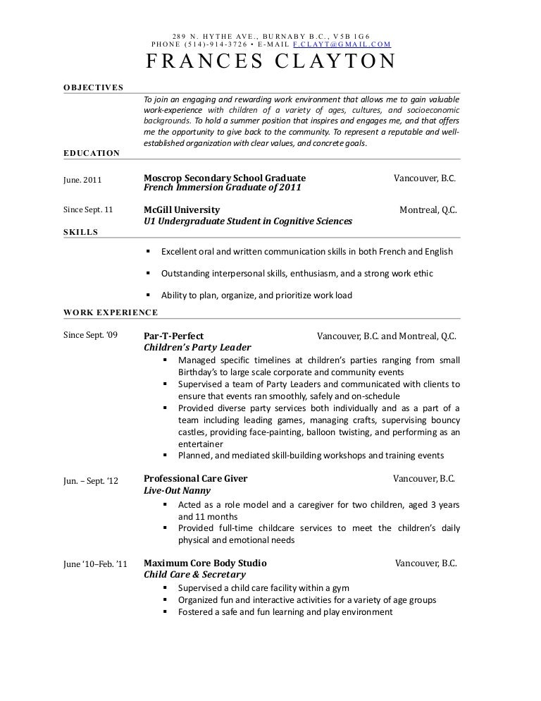 Frances Childcare Resume 2013