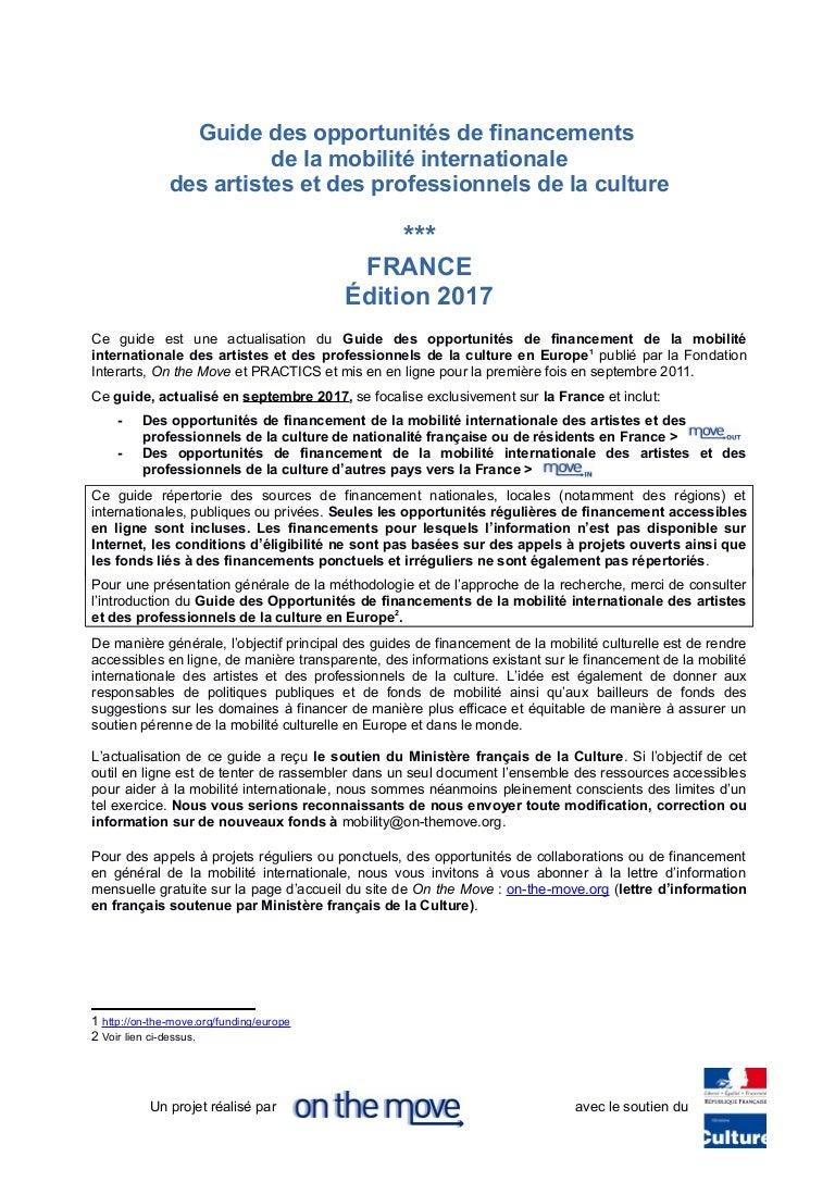 Le Guide Des Opportunites De Financements De La Mobilite Culturelle P