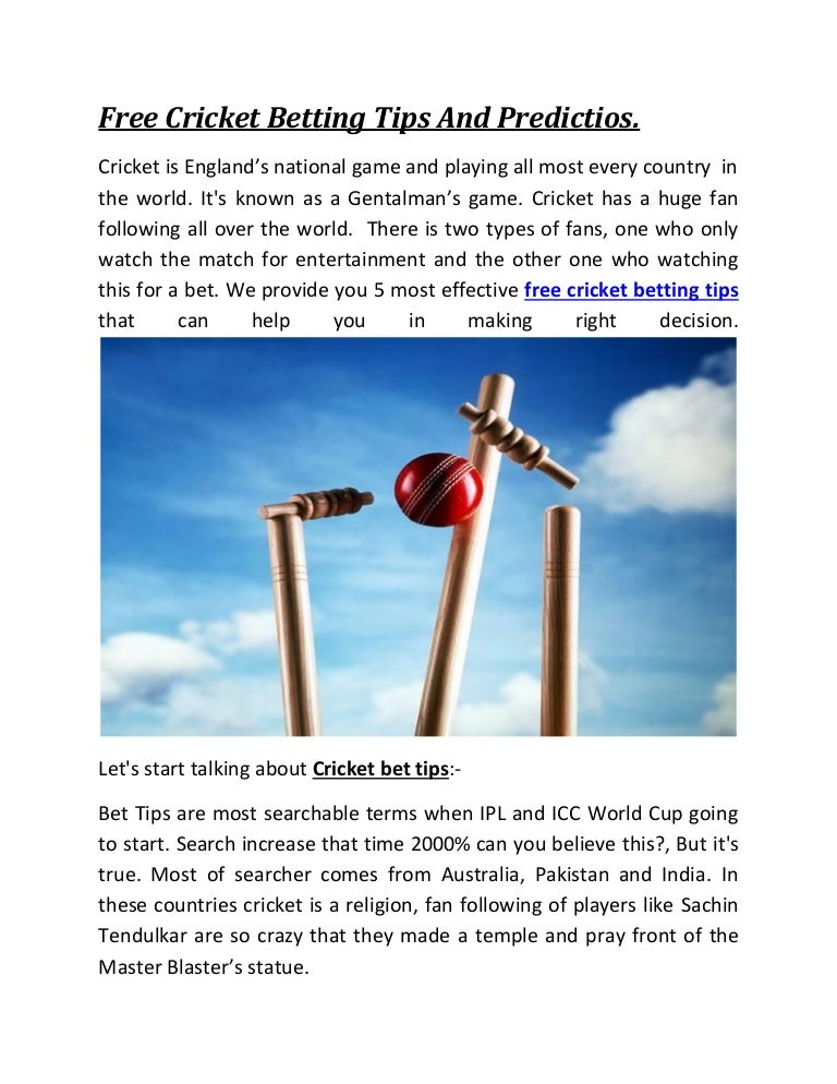 cricket betting tips online free