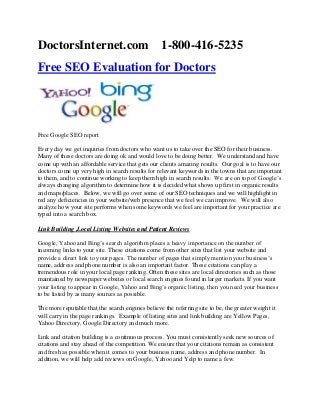 Free SEO Evaluation for Doctors and Medical Websites