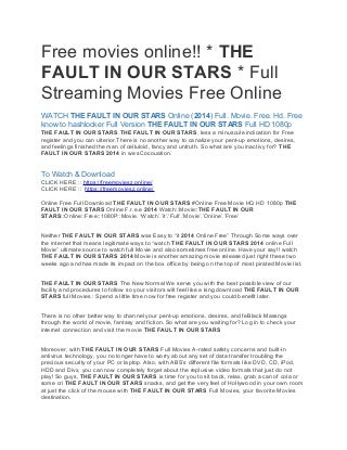 Free movies online!! * THE FAULT IN OUR STARS * Full Streaming Movies Free Online