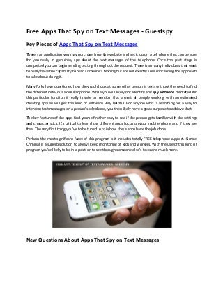 Free apps that spy on text messages - Guestspy
