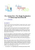 Free autism test   the simple explanation of autism spectrum disorder