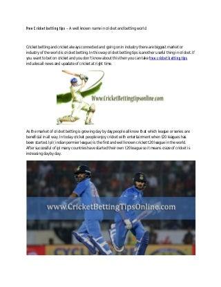 Free cricket betting tips