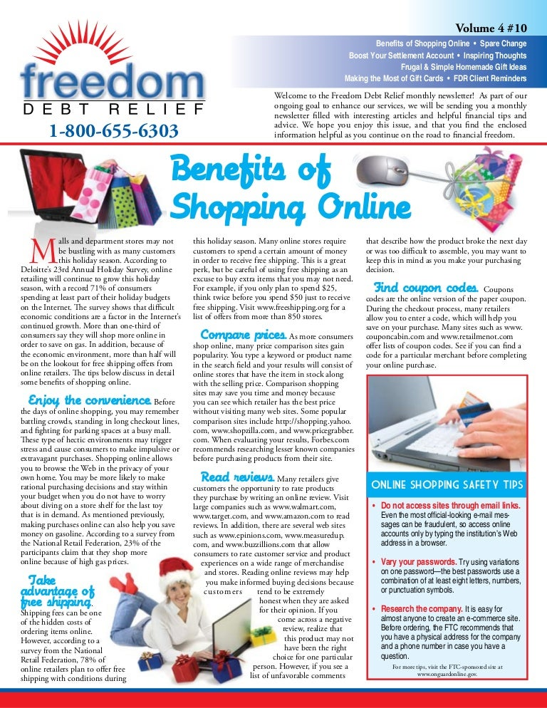 Freedom Debt Relief Benefits Of Shopping Online