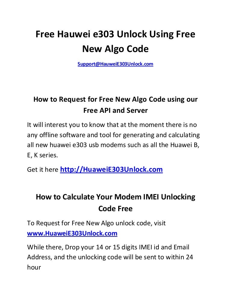 Free Hauwei E303 Unlock Code using Free New Algo Calculator Tool