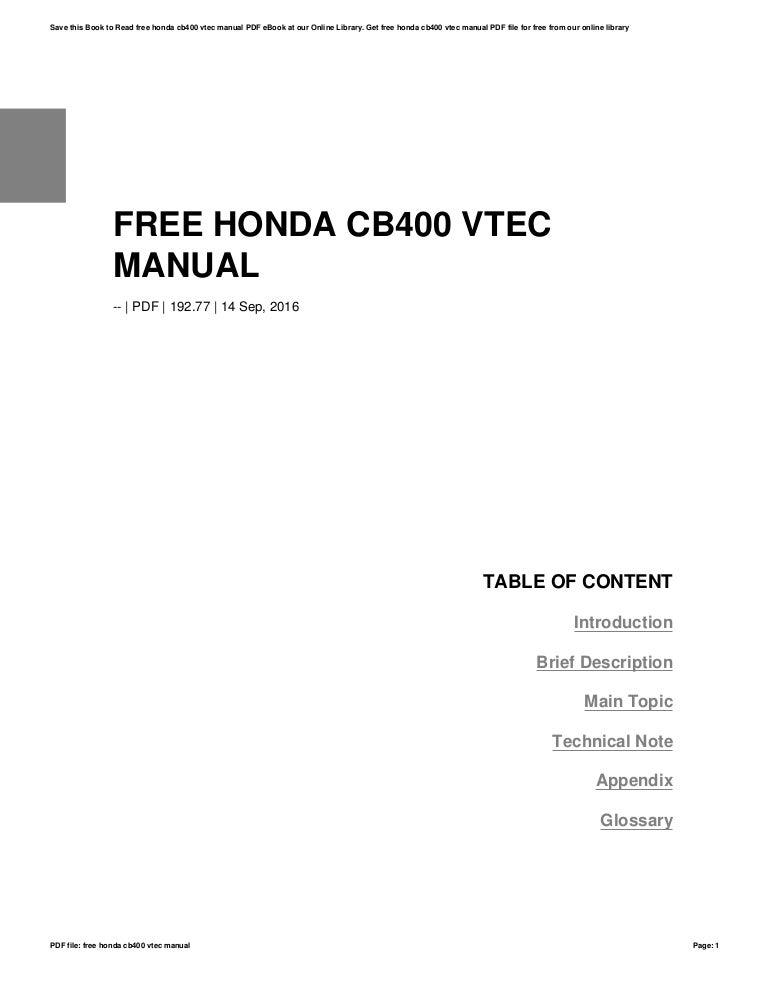 Free Honda Cb400 Vtec Manual