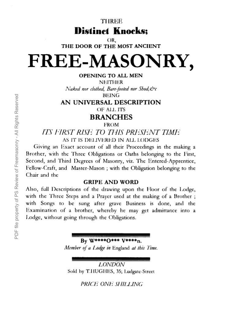 Freemasonry 155 three distinct knocks 1760 biocorpaavc Choice Image