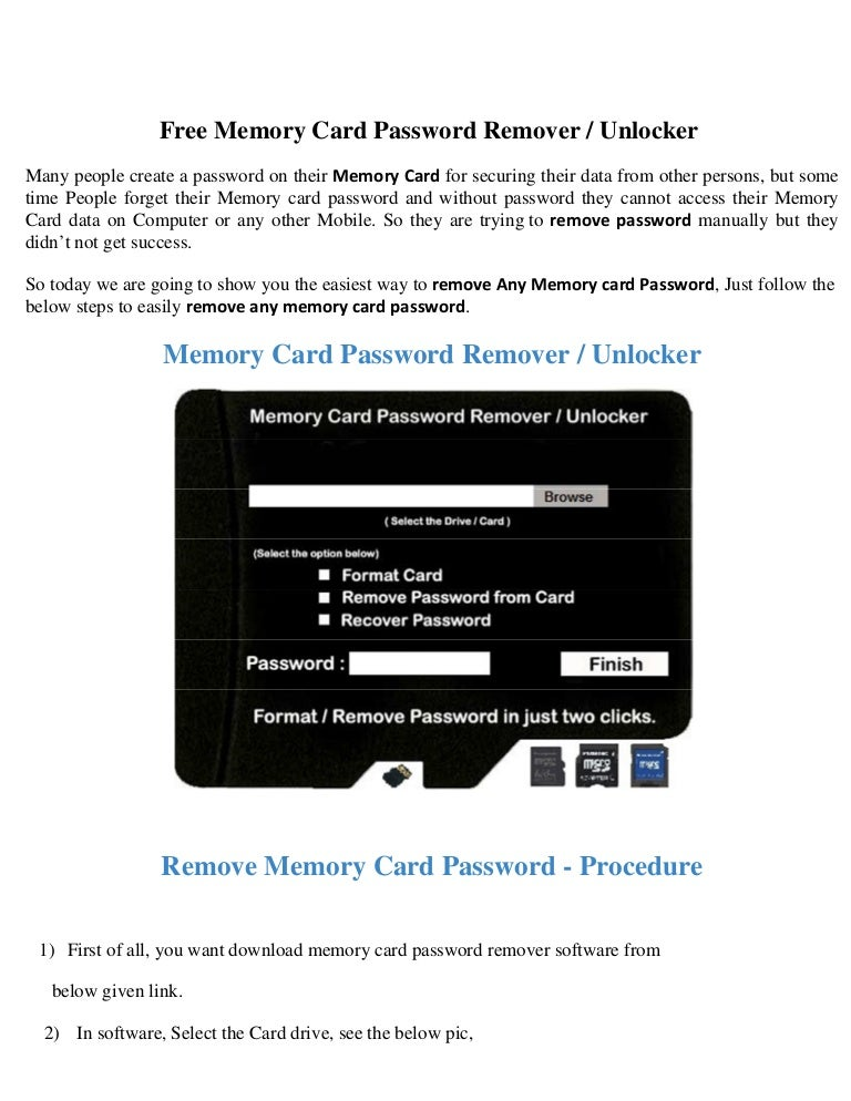 Free Memory Card Password Remover Unlocker 100% working