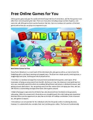 Free online games for you