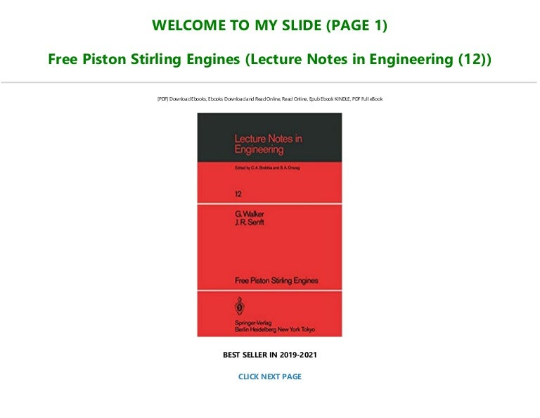 Free [READ] Free Piston Stirling Engines (Lecture Notes in Engineering (12)) Full-Online