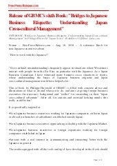 "NEW (e)Book: ""Bridges to Japanese Business Etiquette: Understanding Japan Cross-cultural Management"""