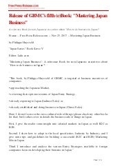 """Press Release - (e)Book: """"Mastering Japan Business"""""""
