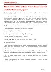 """Press Release - (e)Book """"The Ultimate Survival Guide for Business in Japan"""""""