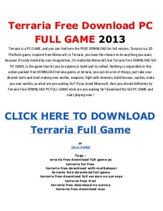 Terraria Free Download - Terraia Full Game PC Free Download [MediaFire]