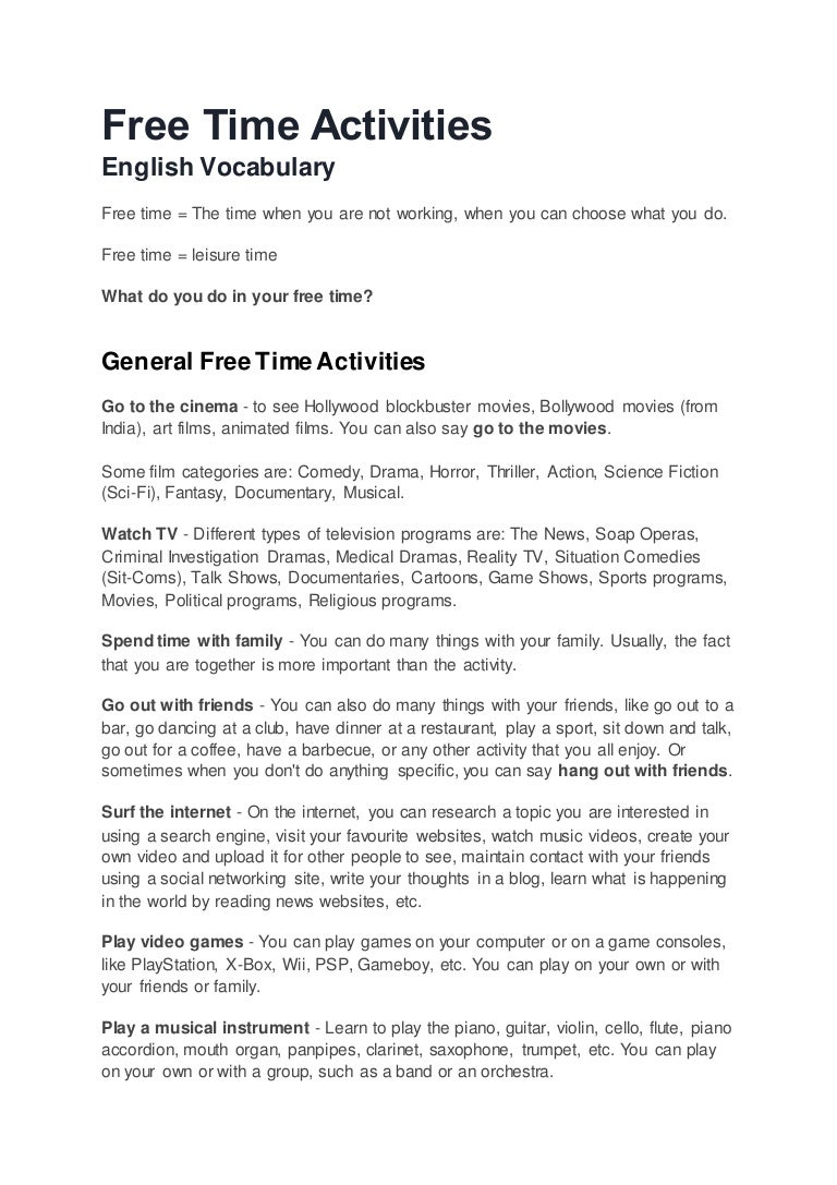 short essay on leisure time