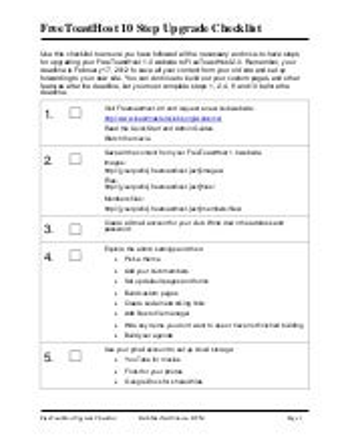 FreeToasthost Upgrade 10 Step Checklist