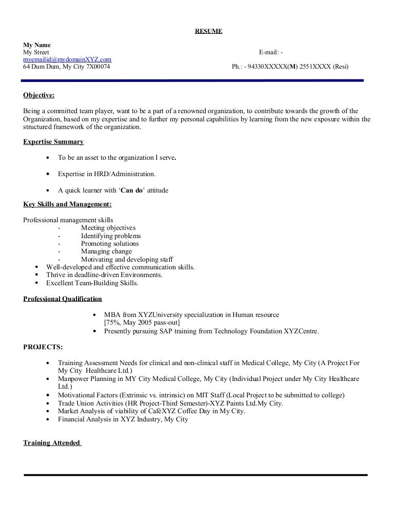 Resume Resume Sample Of Hr Fresher fresher hr executive resume model 103