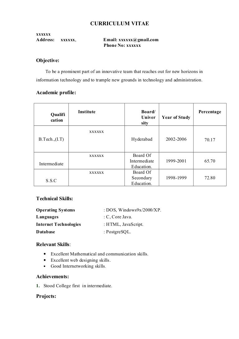 resume format download for diploma freshers
