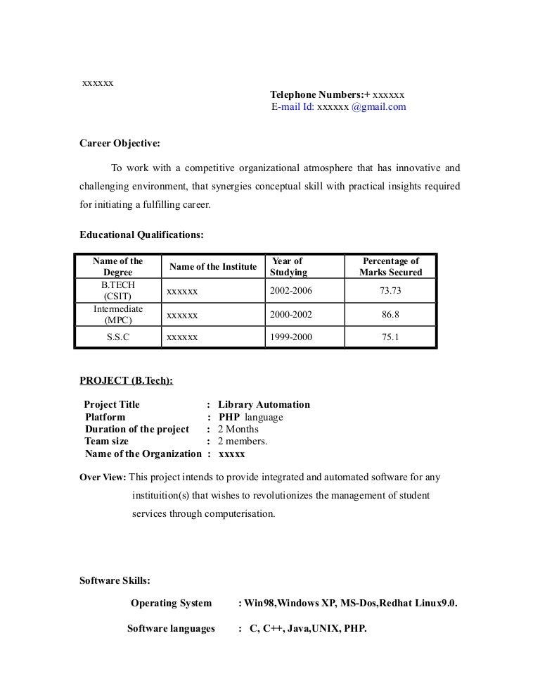 Fresher Resume Sample13 By Babasab Patil