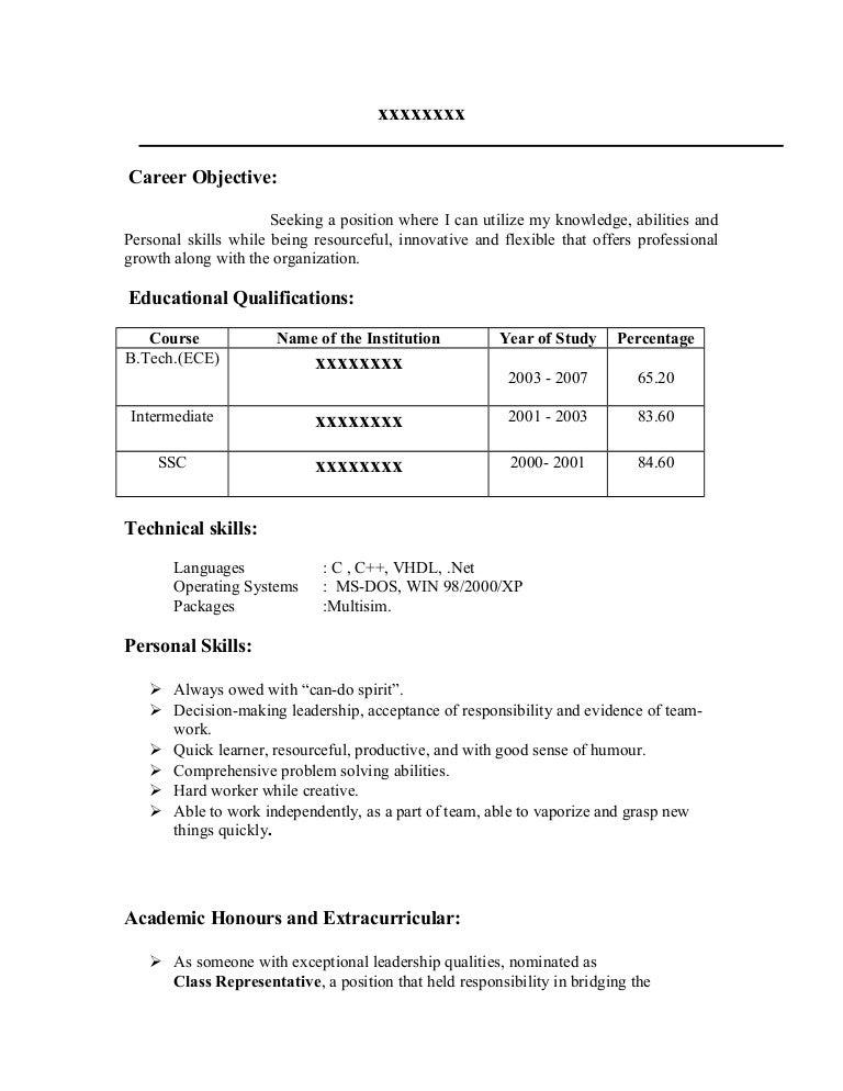resume for freshers. sample good resume good resume objective s ...