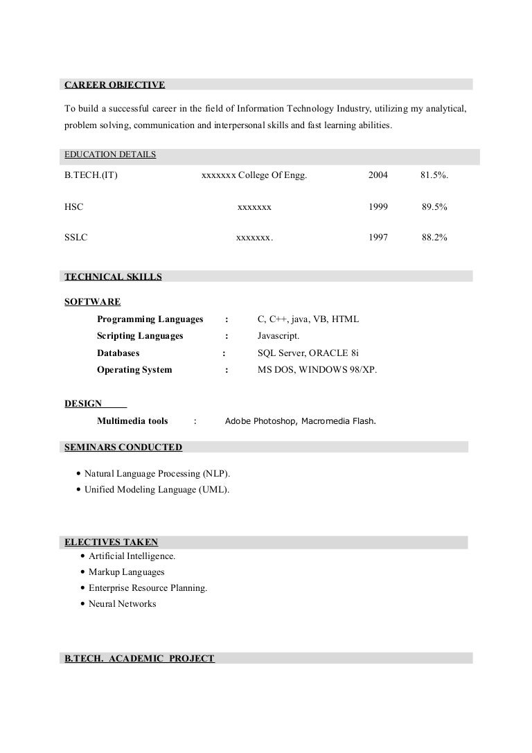 resume formats for freshers - Paso.evolist.co