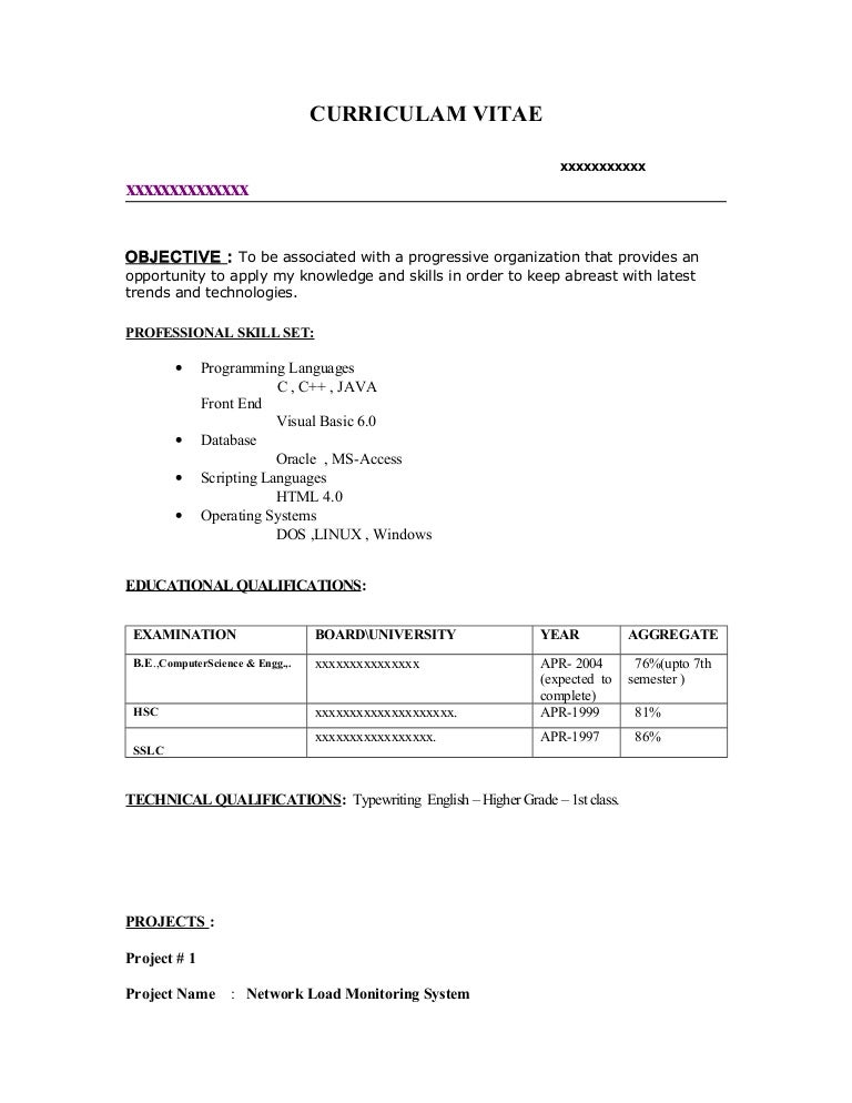 Computer Science Resume For Freshers - Contegri.Com