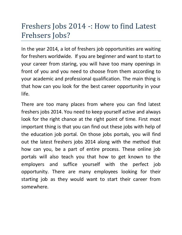 Freshers Jobs 2014